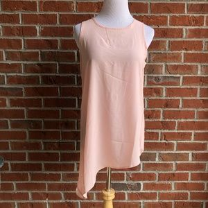 GIBSON Pink Sleeveless Asymmetrical Hem Blouse Top